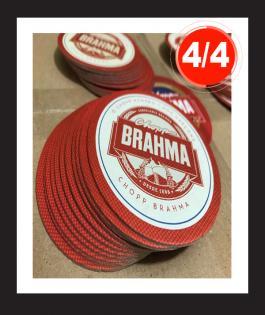 BOLACHA DE CHOPP 1000unds Papelão 0,03 mm 4/4 Sem Verniz Empastamento - Corte Redondo