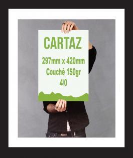 CARTAZ 250unds Couchê Brilho 150gr 4/0 Verniz UV Total Frente Refile