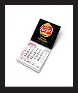 IMÃ DE GELADEIRA COM CALENDÁRIO  5000 unds Manta Magnética 0,3mm 4/0 Verniz Total Brilho Frente Bloco Calendário 2019 - Embalado Individualmente