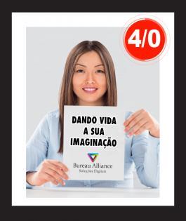PANFLETO Couchê 80gr Brilho 4/0 Sem Verniz Refilado 10000unds